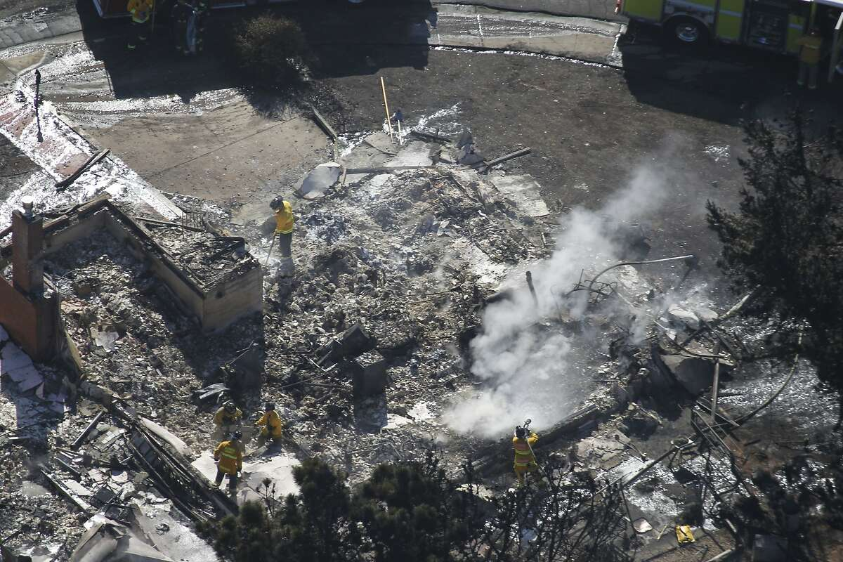 homes destroyed in a neighborhood in San Bruno, Calif. on Friday, Sept. 10, 2010 after a massive natural gas pipeline explosion Thursday night.