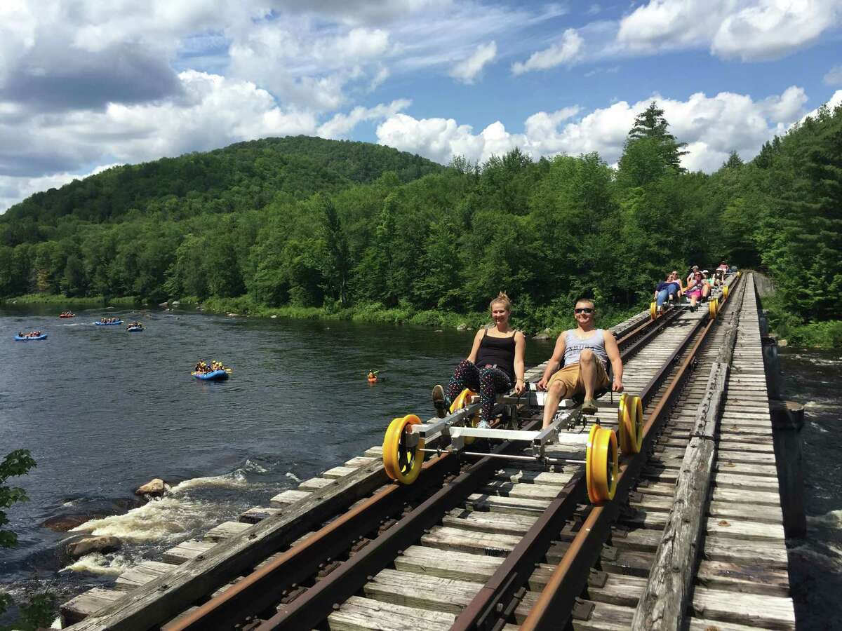 Railbiking is a unique way to completely immerse yourself in the Adirondack Forest Preserve without having to hike or paddle. Riders on the scenic 6-mile trips go through a stretch of wild forest, following along the river and crossing high above it on a train trestle before stopping for a break. Revolution Rail is offering this experience every day through September 7th with trips at 10 a.m., noon, 2 p.m. and 4 p.m. Early bird trips are also offered at 8 a.m. Friday through Sunday. You can book a trip on their website or by calling 518-251-2345. The rail biking company has a number of coronavirus precautions in place including screening riders for any signs of illness at check-in and requiring masks when maintaining social distance is not possible. Read their COVID-19 practices here.