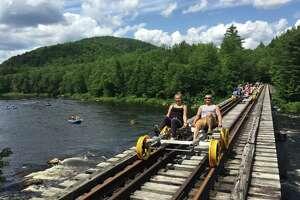 Railbiking comes to North Creek this summer with Revolution Rail Co.'s railbike tours. (Revolution Rail Co. photo)