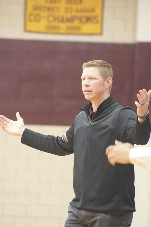 Deer Park head coach Ryan Bright questions out loud why there wasn't a goal-tending call during third-period action Friday afternoon. Photo: Robert Avery