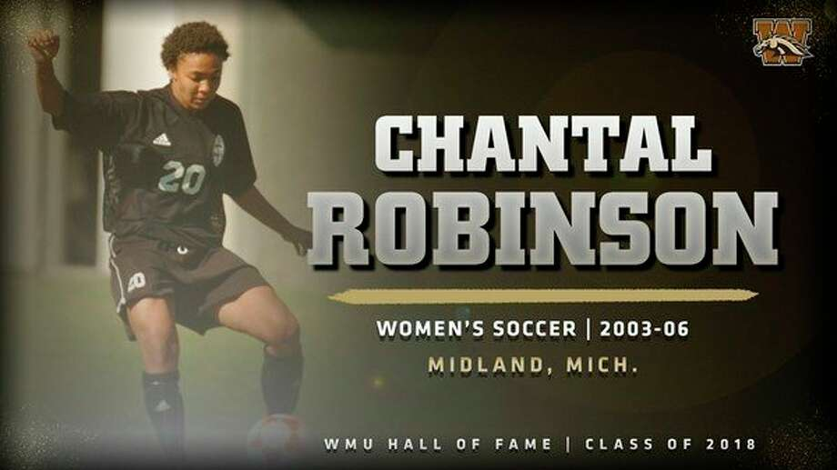 Above, an image from wmubroncos.com shows recent Hall of Fame inductee Chantal Robinson playing for the Western Michigan University women's soccer team. At right, Chantal Robinson, left, is shown with her wife, Jessica Stevens, on their wedding day, July 27, 2018. (Submitted photos)