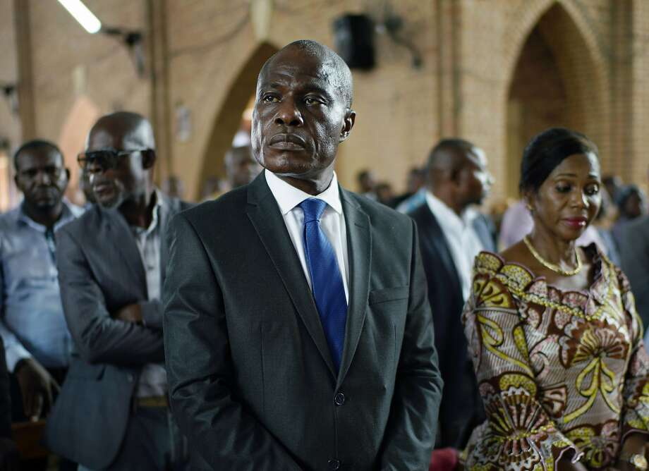 Martin Fayulu, Congo's top opposition candidate, attends a prayer service in Kinshasa. Voters go to the polls Sunday. Photo: Jerome Delay / Associated Press