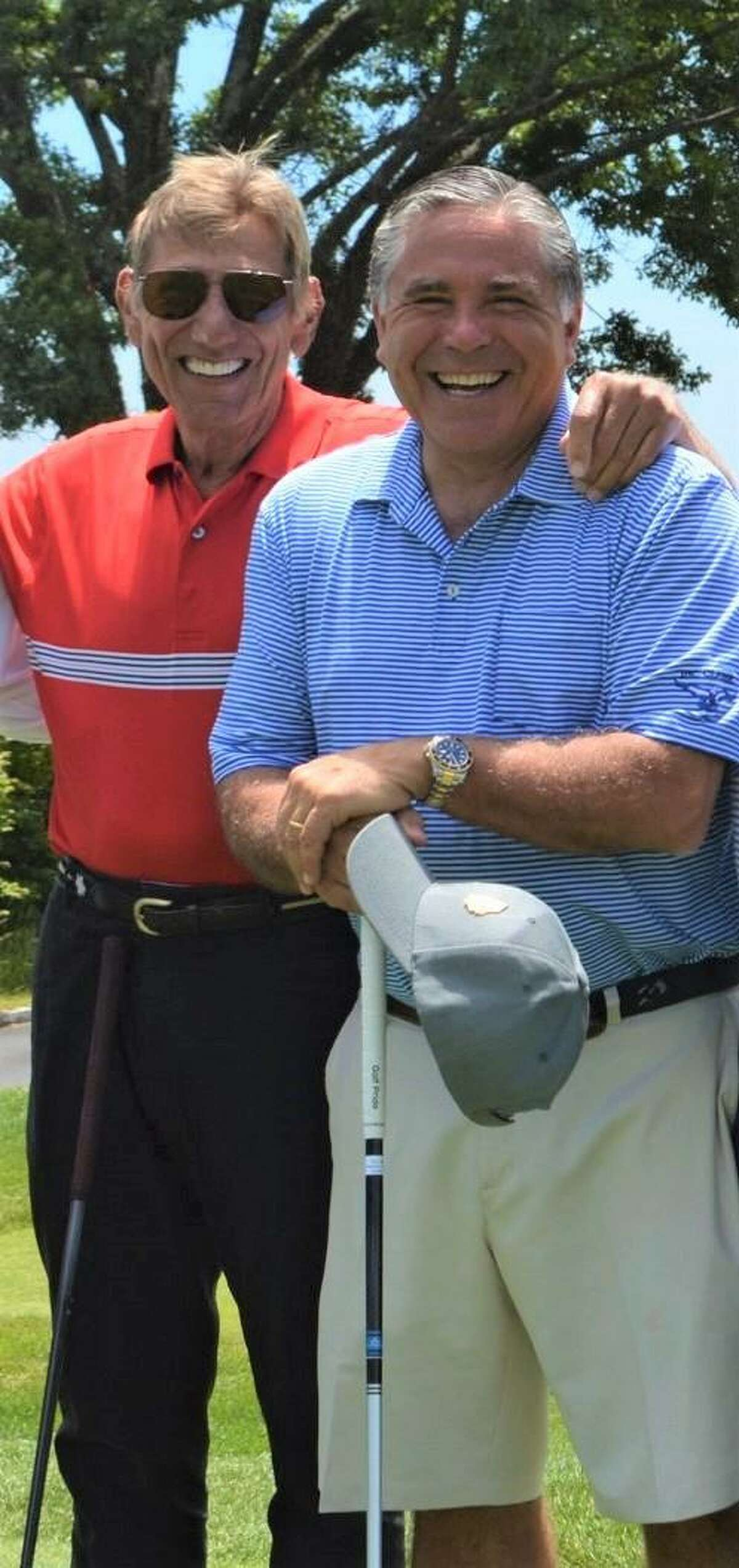 NFL great Joe Namath with Old Greenwich resident Joe Cabrera at the 21st annual James & Helen Cabrera Classic annual golf and tennis tournament at Greenwich Country Club in June.