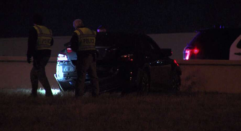 A man drove through a grassy median and crashed into a wall where the passenger suffered broken bones on Saturday, according to the San Antonio Police Department. Photo: 21 Pro Video