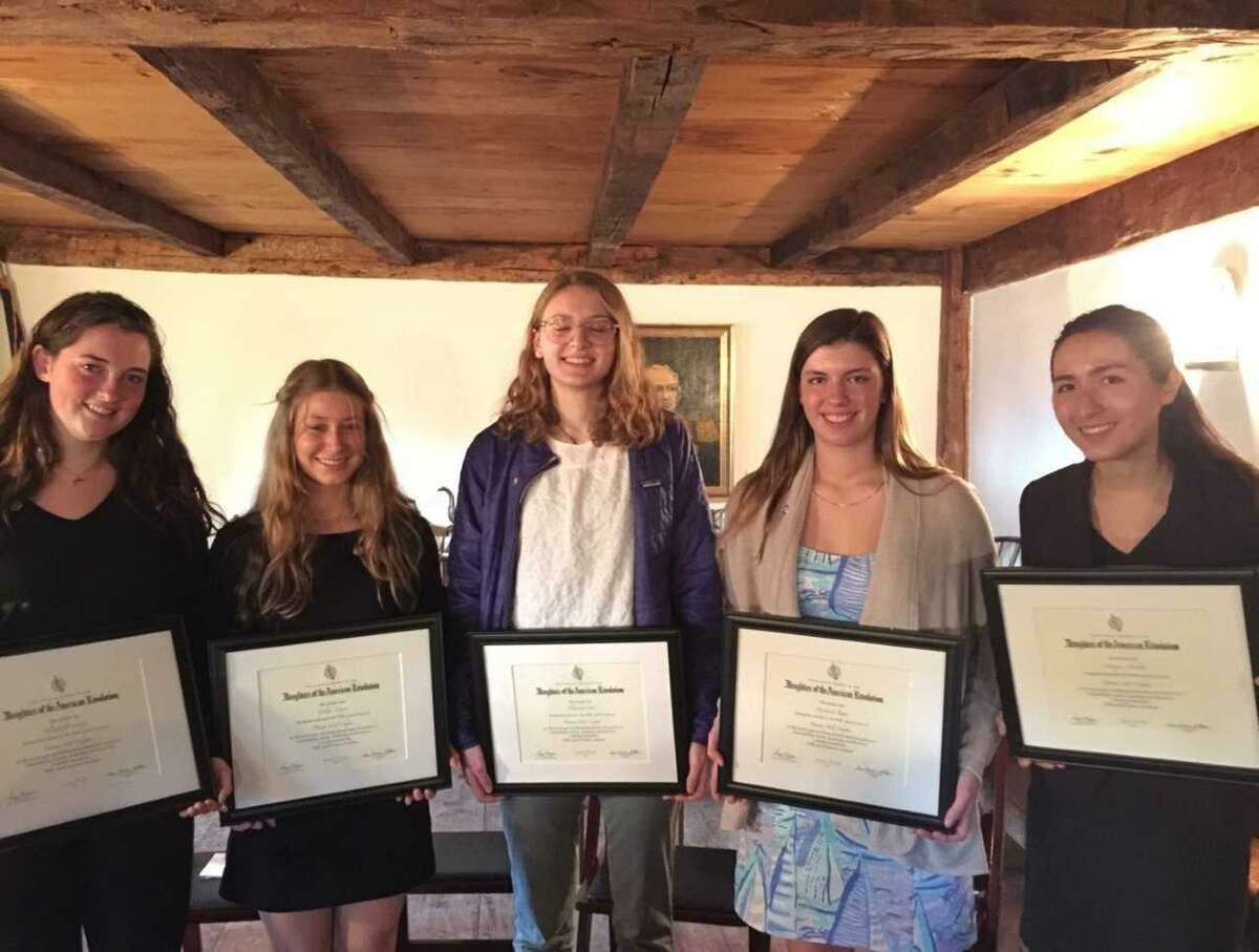 From left, Elizabeth Cassidy, Colette Cooper, Elizabeth Peck, Stephanie Rota, and Monique Nikolov display their Good Citizens Awards. The Greenwich High students received the honor from the Putnam Hill Daughters of the American Revolution.