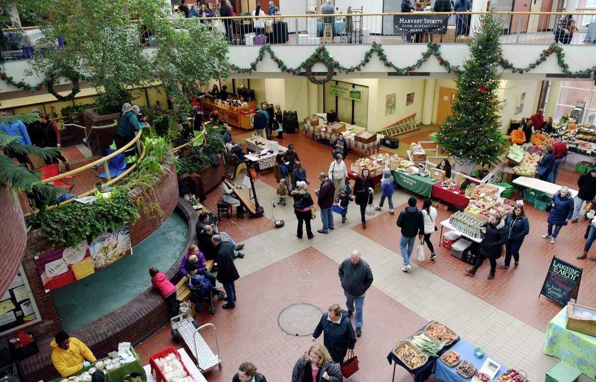 A view of the Troy Farmer's Market Saturday, Dec. 29, 2018 at the Troy Atrium. (Phoebe Sheehan/Times Union)