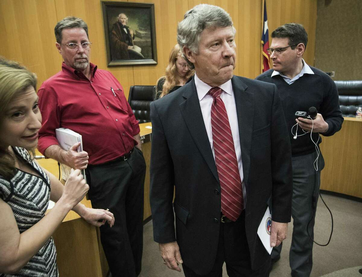 County Judge Ed Emmett walks away after speaking to the media following the Harris County Commissioners Court meeting on Tuesday, Dec. 18, 2018, in Houston. After 11 years as County Judge, it was Emmett's final Commissioners Court meeting before stepping down in January.