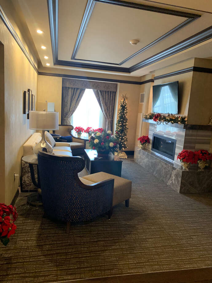 Courtesy Saratoga Casino Hotel Saratoga Casino Hotel offered Christmas decorations in hotel guest rooms.