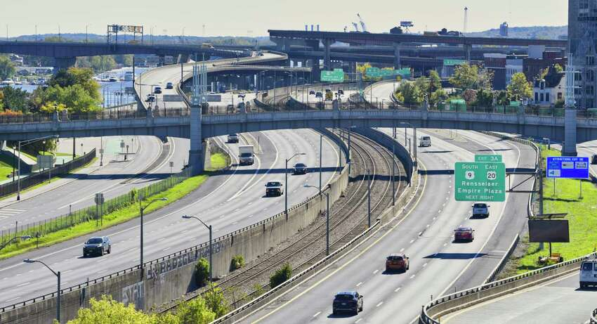 A view of Interstate 787, looking south from the top of the Quackenbush Garage on Thursday, Oct. 18, 2018, in Albany, N.Y. (Paul Buckowski/Times Union)