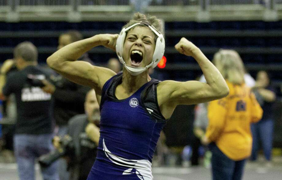 Chelsea Sanchez of Morton Ranch reacts after defeating Annamarie Crixell of Oak Ridge in a Class 6A girls 110-pound semifinal bout during the UIL State Wrestling Championships at the Berry Center on Feb. 24, 2018, in Cypress. Photo: Jason Fochtman, Staff Photographer / Houston Chronicle / © 2018 Houston Chronicle