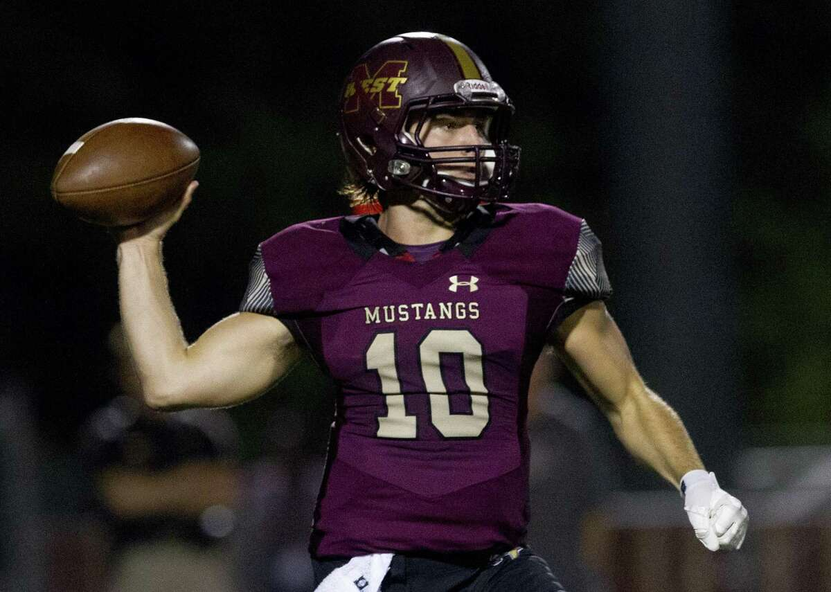 Magnolia West quarterback John Matocha (10) throws a pass during the first quarter of a District 8-5A high school football game at Magnolia West High School, Friday, Oct. 26, 2018, in Magnolia.