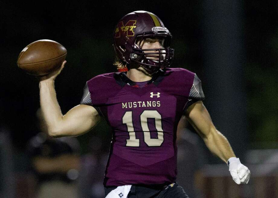 Magnolia West quarterback John Matocha (10) throws a pass during the first quarter of a District 8-5A high school football game at Magnolia West High School, Friday, Oct. 26, 2018, in Magnolia. Photo: Jason Fochtman, Houston Chronicle / Staff Photographer / © 2018 Houston Chronicle