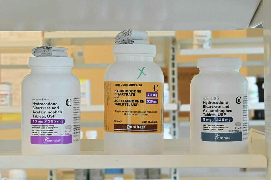 Opioid pills on a pharmacy shelf. (Lori Van Buren/Times Union) Photo: Lori Van Buren / 20044429A
