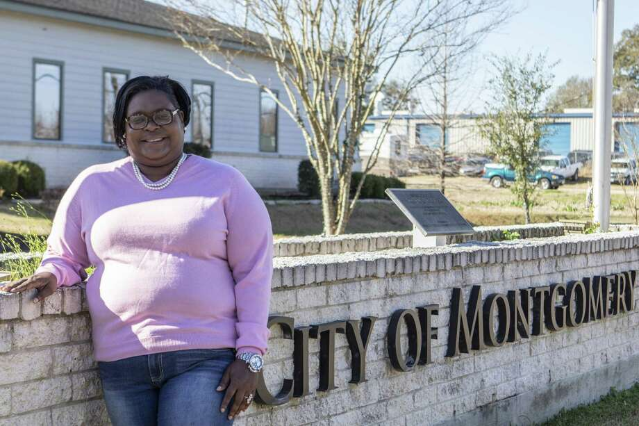 Katrina Moore stands outside the City of Montgomery city hall Friday in the City of Montgomery. Moore has taken on the role of a newly created position in the City of Montgomery focusing on marketing and tourism to promote economic development. Photo: Cody Bahn, Houston Chronicle / Staff Photographer / © 2018 Houston Chronicle