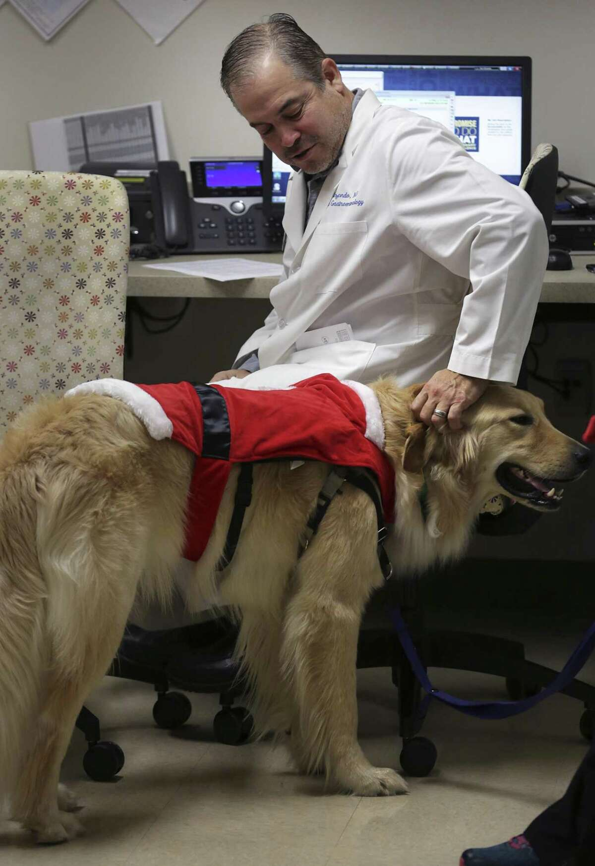 Jaime, a trained facility dog, visits with Dr. Ben Elizondo while he works on medical reports. Methodist Children's Hospital has two dogs to help staff and patients, who are coping with the stress of being in a hospital.