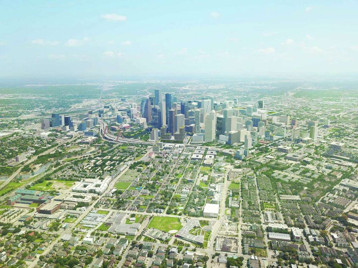 The Houston Downtown Management District (Downtown District) and Central Houston, Inc. have released Plan Downtown: Converging Culture, Lifestyle & Commerce. Shown here is a bird's eye view of west downtown.