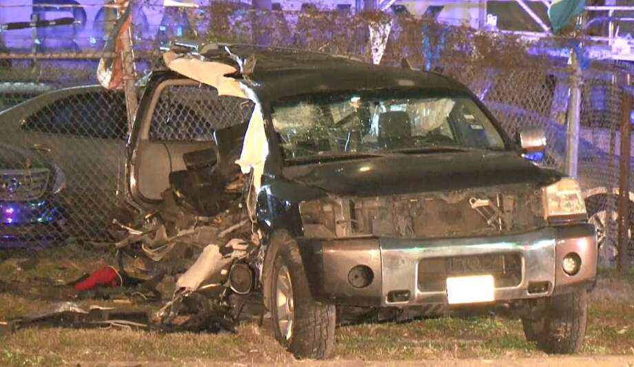 A 2-year-old child killed in a wreck about 7 p.m. Saturday was not in a car seat or wearing a seat belt, Harris County Sheriff's deputies said. The wreck involving a pickup truck and SUV happened in the 10400 block of Airline Drive. Photo: Metro Video