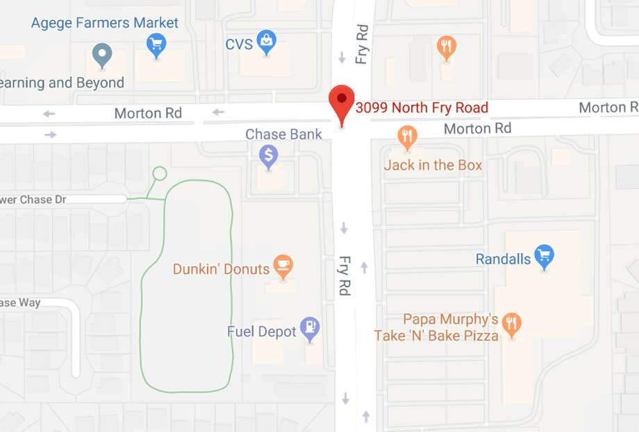A man shot at suspects who tried to rob his wife about 2:30 p.m. Saturday in the 3099 block of North Fry Road near Morton Road, according to the Harris County Sheriff's Office. Photo: Google Maps