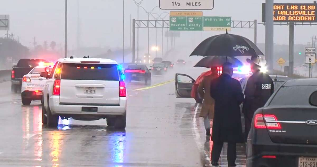 Authorities say a woman with four children in her car was leaving a Walmart on East Sam Houston Parkway about 6 a.m. Sunday when another vehicle fired multiple rounds into her car. She was shot in the arm and a 7-year-old was killed.