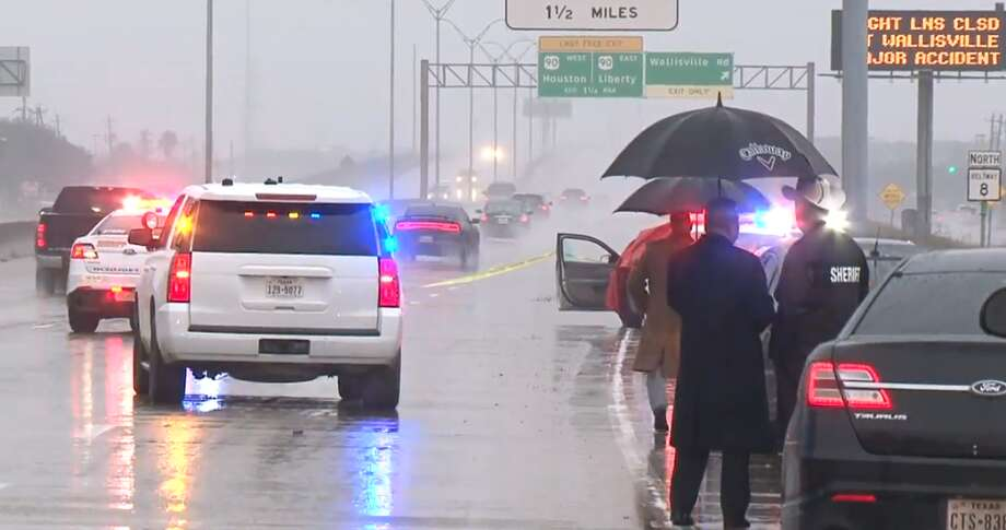 Authorities say a woman with four children in her car was leaving a Walmart on East Sam Houston Parkway about 6 a.m. Sunday when another vehicle fired multiple rounds into her car. She was shot in the arm and a 7-year-old was killed. Photo: Metro Video