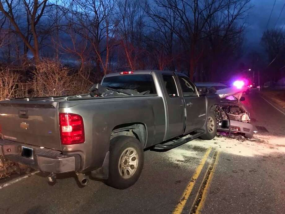 The Brookfield Volunteer Fire Company responded to a head-on collision on Iron Works Hill Road on Saturday evening. Photo: / Contributed Photo /Brookfield Volunteer Fire Company Facebook Page