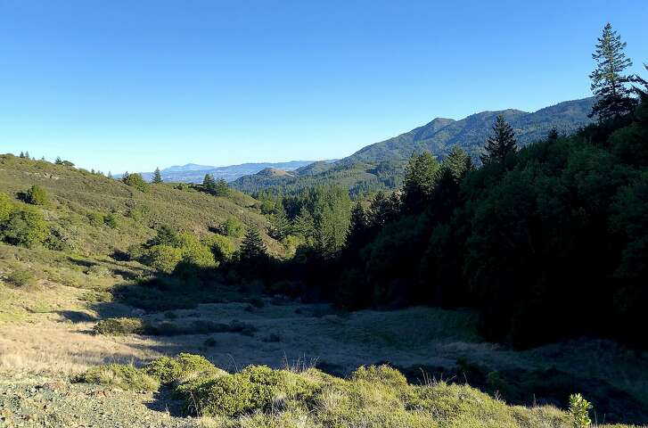 From Pine Mountain Ridge in the Marin watershed, you get a long-distance view of Mount Tamalpais and beyond on the horizon to Mount Diablo