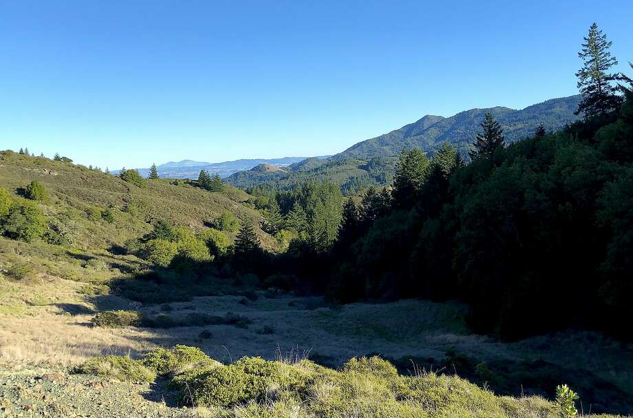 From Pine Mountain Ridge in the Marin watershed, you get a long-distance view of Mount Tamalpais and beyond on the horizon to Mount Diablo Photo: Tom Stienstra, Michael Pechner / Special To The Chronicle