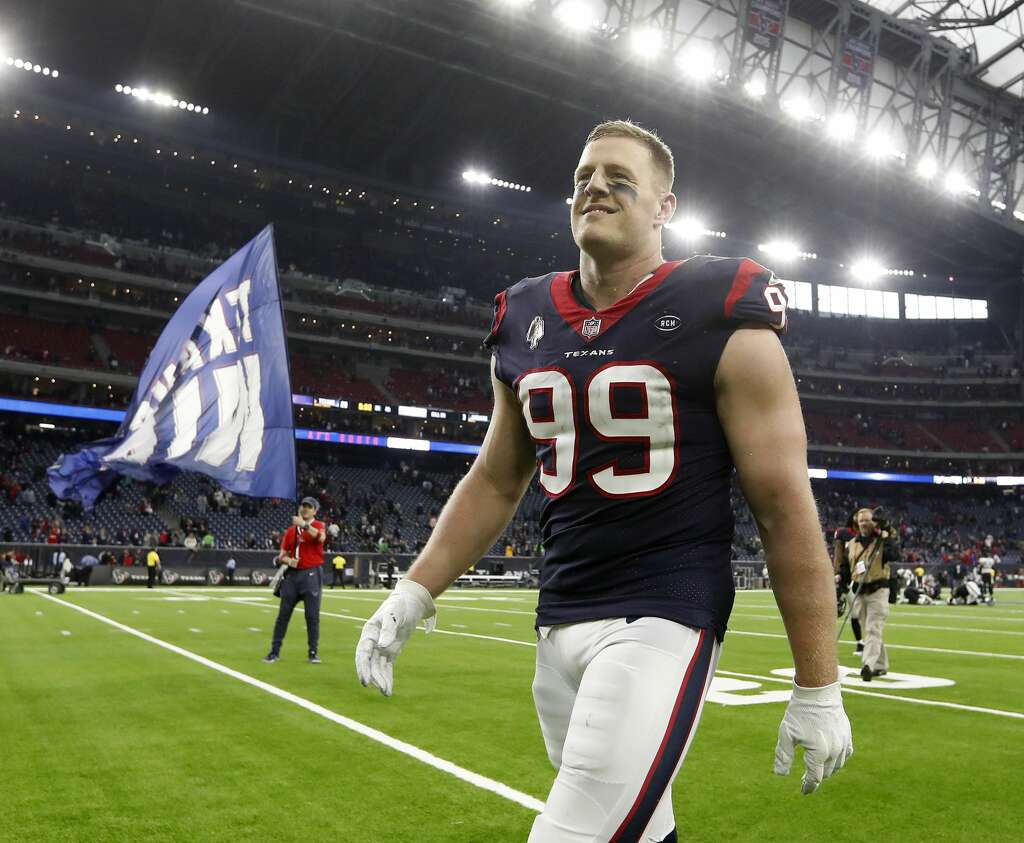 <p>Houston Texans defensive end J.J. Watt (99) smiles as he comes off the field after the Texans 20-3 win over Jacksonville Jaguars after an NFL football game at NRG Stadium, Sunday, Dec. 30, 2018, in Houston.</p>