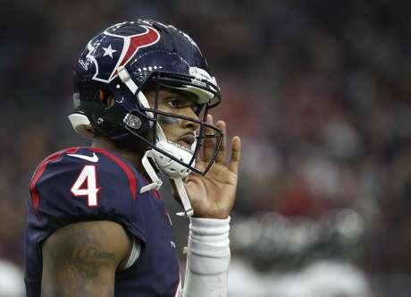 Houston Texans quarterback Deshaun Watson (4) waits during a timeout during the fourth quarter of an NFL football game at NRG Stadium, Sunday, Dec. 30, 2018, in Houston.