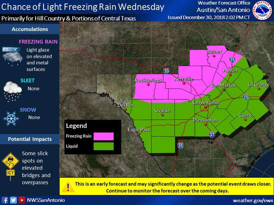 There's a chance for light freezing rain across the Hill Country and portions of Central Texas on Wednesday, according to the National Weather Service. Photo: National Weather Service
