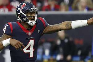 Houston Texans quarterback Deshaun Watson (4) points as he calls a play during the fourth quarter of an NFL football game at NRG Stadium, Sunday, Dec. 30, 2018, in Houston.
