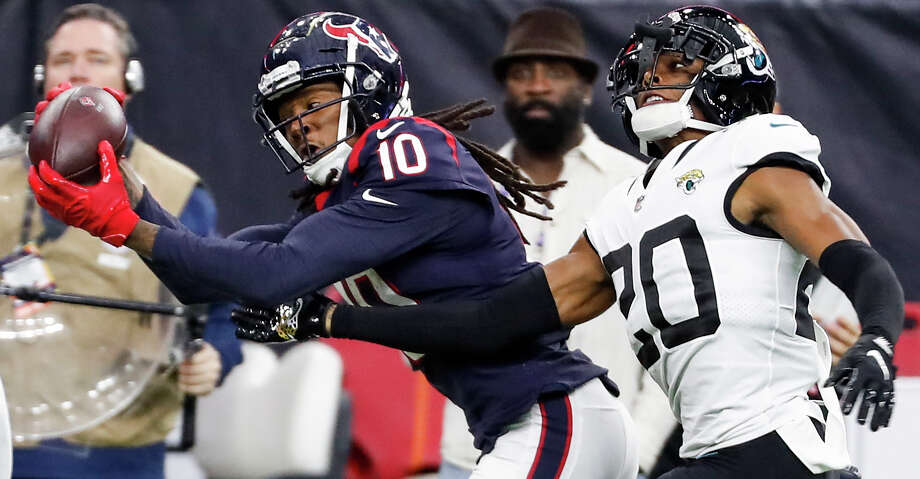 PHOTOS: Texans vs. Jaguars Houston Texans wide receiver DeAndre Hopkins (10) beats Jacksonville Jaguars cornerback Jalen Ramsey (20) for a 43-yard reception and a first down during the fourth quarter of an NFL football game at NRG Stadium on Sunday, Dec. 30, 2018, in Houston. Browse through the photos to see action from the Texans' win over the Jaguars in the season finale. Photo: Brett Coomer/Staff Photographer / © 2018 Houston Chronicle