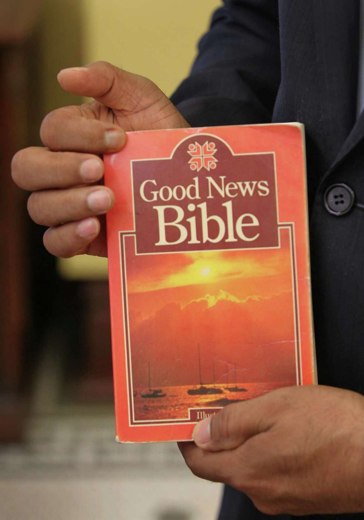 Fort Bend's newly elected County Judge, K.P. George, unpacked a Bible in his office Friday, Dec. 28, 2018, in Richmond. George explained that he carried the book with him since he immigrated from South India over 25 years ago.