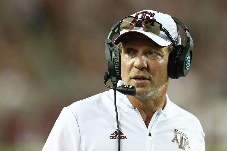 Texas A&M Aggies head coach Jimbo Fisher on the sidelines during the first quarter of the NCAA game against the Northwestern State Demons at Kyle Field Thursday, Aug. 30, 2018, in College Station, Texas.