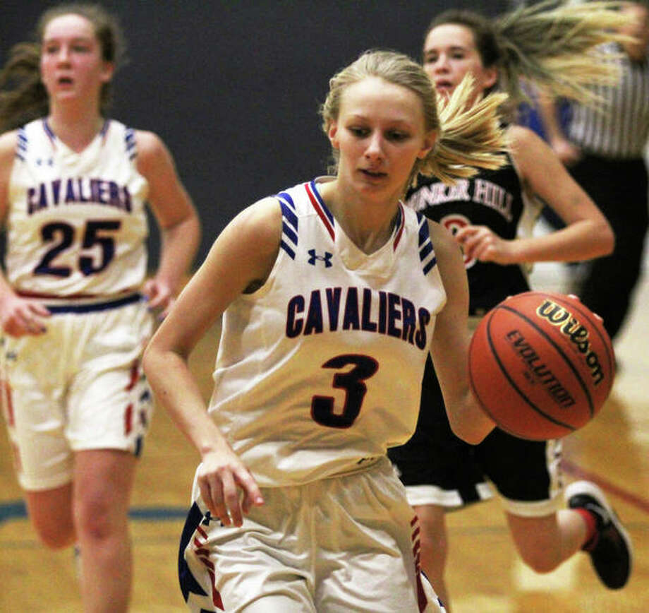 Carlinville's Rachel Olroyd was one of three Cavaliers named all-tourney after Saturday's victory over Staunton gave the host team back-to-back championships at the Carlinville Holiday Tournament. Photo: Greg Shashack / The Telegraph