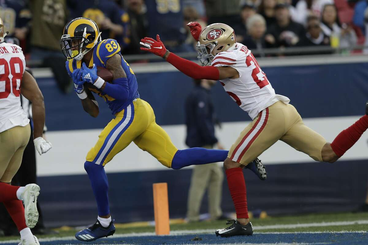Los Angeles Rams wide receiver Josh Reynolds scores against the San Francisco 49ers during the second half in an NFL football game Sunday, Dec. 30, 2018, in Los Angeles. (AP Photo/Marcio Jose Sanchez)