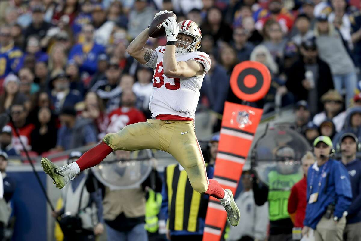 San Francisco 49ers tight end George Kittle catches a pass against the Los Angeles Rams during the first half in an NFL football game Sunday, Dec. 30, 2018, in Los Angeles. (AP Photo/Marcio Jose Sanchez)