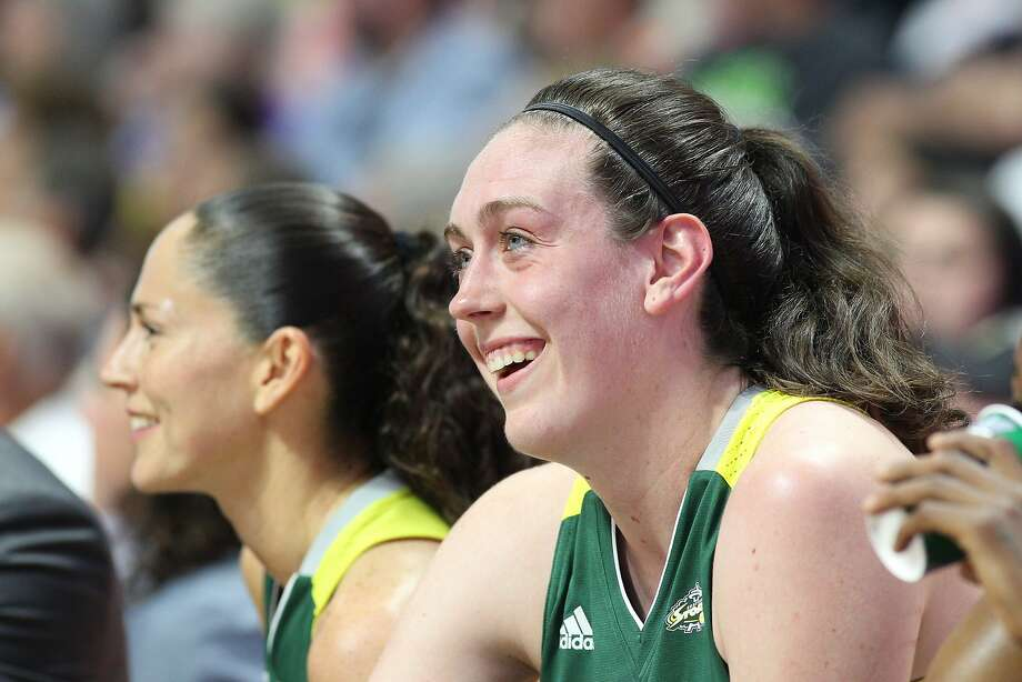 UNCASVILLE, CONNECTICUT- August 8: Breanna Stewart #30 of the Seattle Storm and guard Sue Bird #10 of the Seattle Storm on the bench during the Connecticut Sun Vs Seattle Storm WNBA regular season game at Mohegan Sun Arena on August 8th, 2017 in Uncasville, Connecticut. (Photo by Tim Clayton/Corbis via Getty Images) Photo: Tim Clayton - Corbis, Corbis Via Getty Images