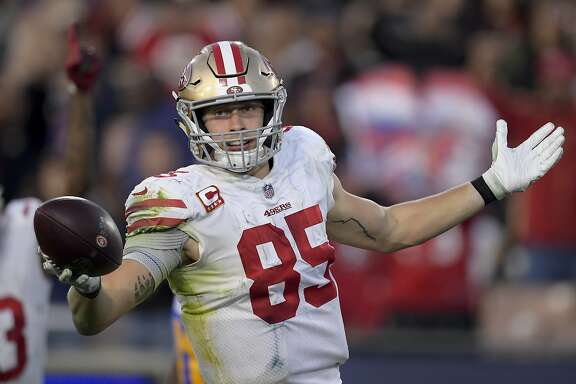 San Francisco 49ers tight end George Kittle celebrates after scoring during the second half in an NFL football game against the Los Angeles Rams Sunday, Dec. 30, 2018, in Los Angeles. (AP Photo/Mark J. Terrill)