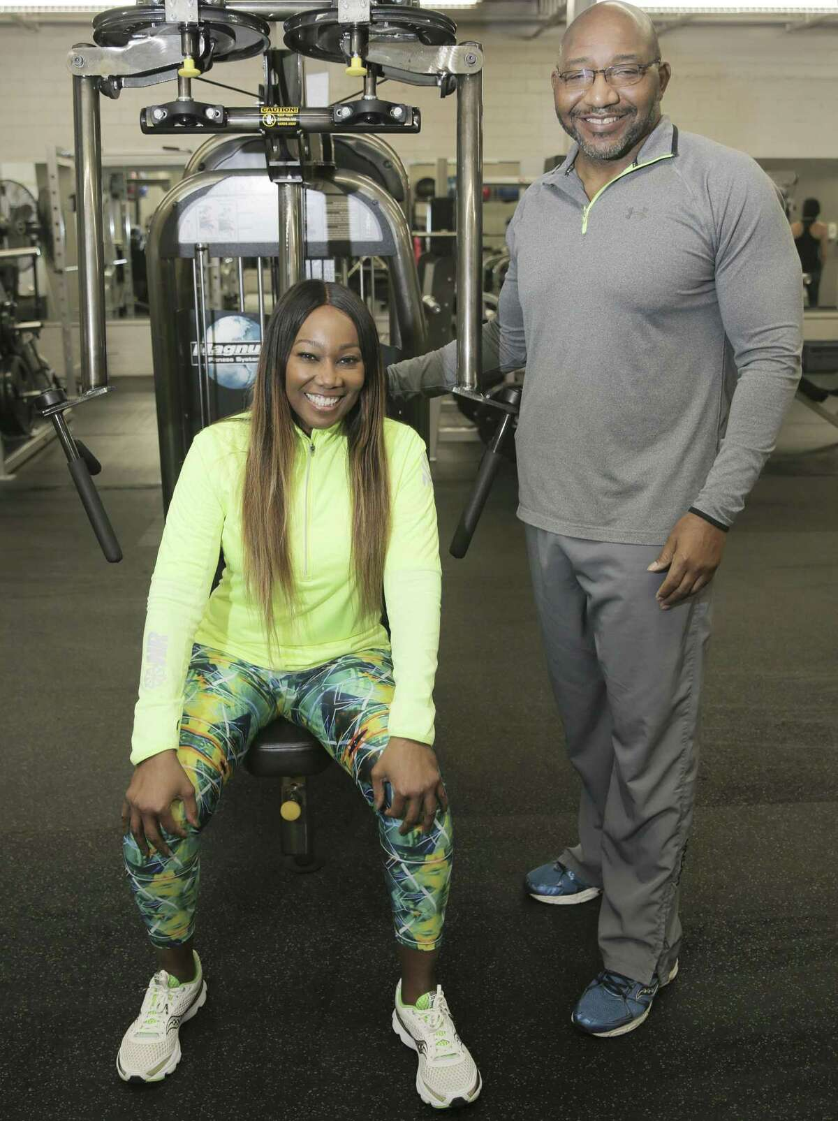 Grammy-award winning gospel singer Yolanda Adams with her trainer Terrence Cooks. They have been working out together for 15 years.