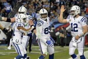 Indianapolis Colts quarterback Andrew Luck (12) celebrates with tight end Eric Ebron (85) after they teamed up for a 9-yard touchdown pass against the Tennessee Titans in the first half of an NFL football game Sunday, Dec. 30, 2018, in Nashville, Tenn. (AP Photo/Mark Zaleski)