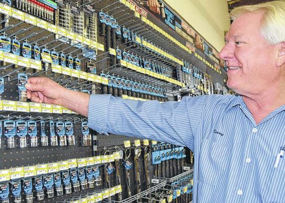 Kenny Albrecht stocks tools at South Side Hardware in Greenfield.