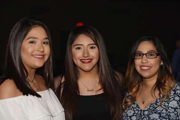 Azeneth Muzquiz, Claudette Mondragon and Kristina Trevino pose for a photo during La Mafia and Gary Hobbs performance.