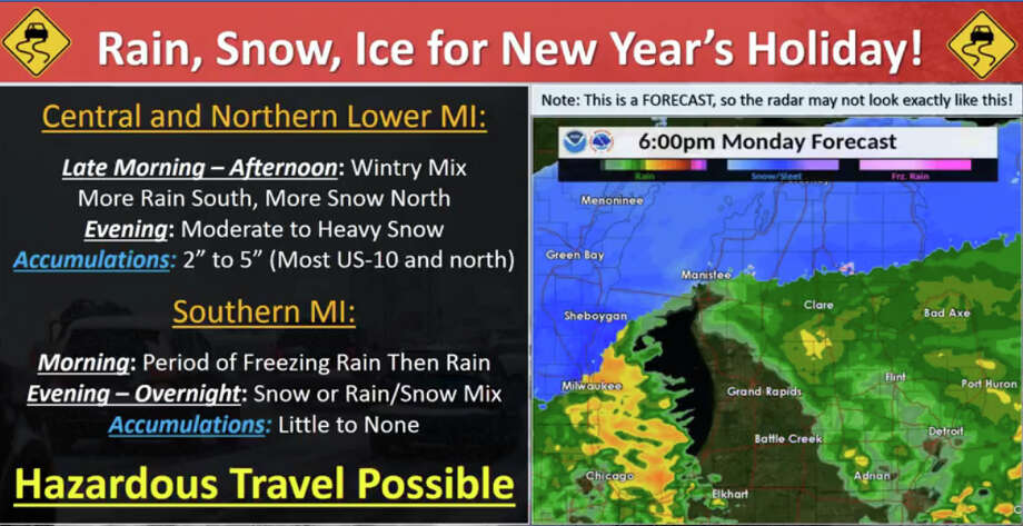 Ice, rain, & snow is expected today, with difficult travel conditions expected. Most of the winter weather will be in central and northern Michigan, but some minor impacts may occur over southern Michigan. Photo: National Weather Service Grand Rapids
