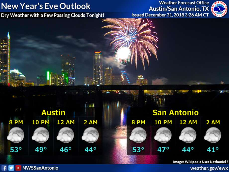 The National Weather Service is predicting mostly clear skies and cool weather as San Antonio heads into 2019. Photo: Courtesy Of National Weather Service