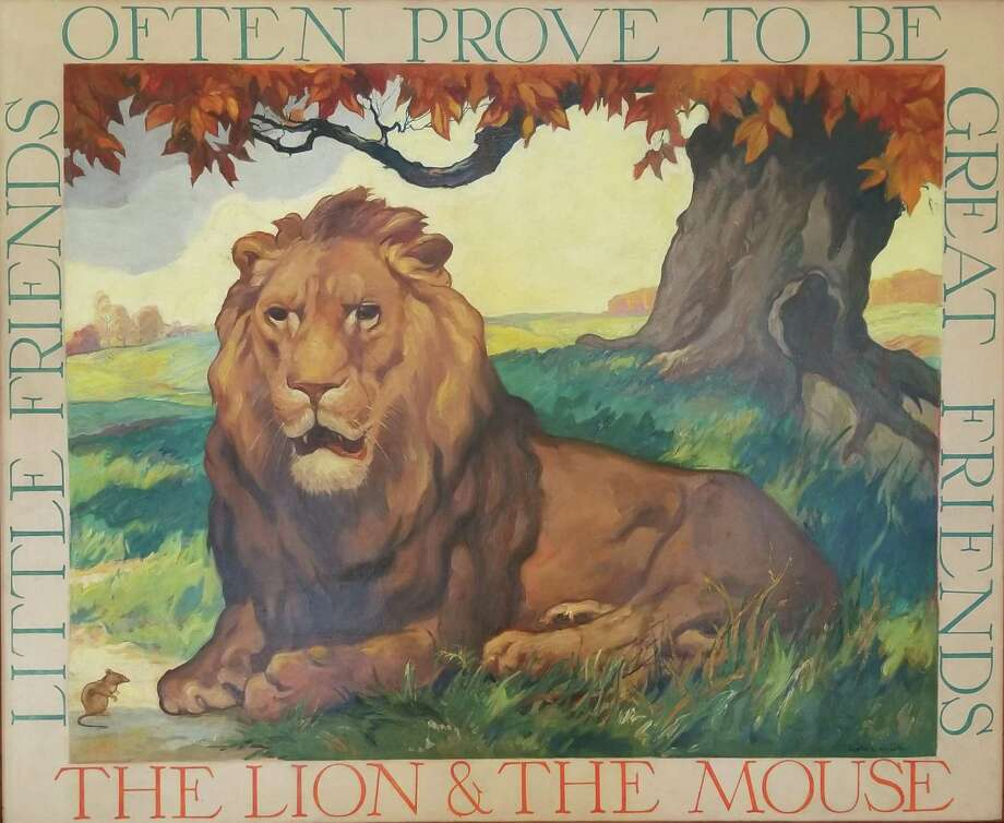 """The Lion & The Mouse,"" part of the Aesop Fables series, by Justin Gruelle, in the New Canaan Historical Society exhibit. ""A New Deal for the Arts: The Federal Art Project Era 1933-1943,""at the New Canaan Historical Society Jan. 11-March 30. Photo: New Canaan Historical Society / Contributed Photo / Connecticut Post Contributed"