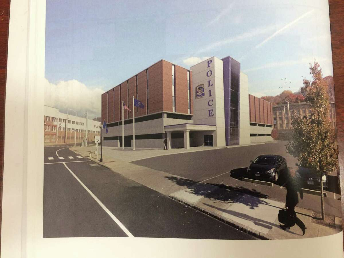 An architectural rendering of the new Ansonia police station planned for Main Street. The building formerly housed the Farrel corporate headquarters