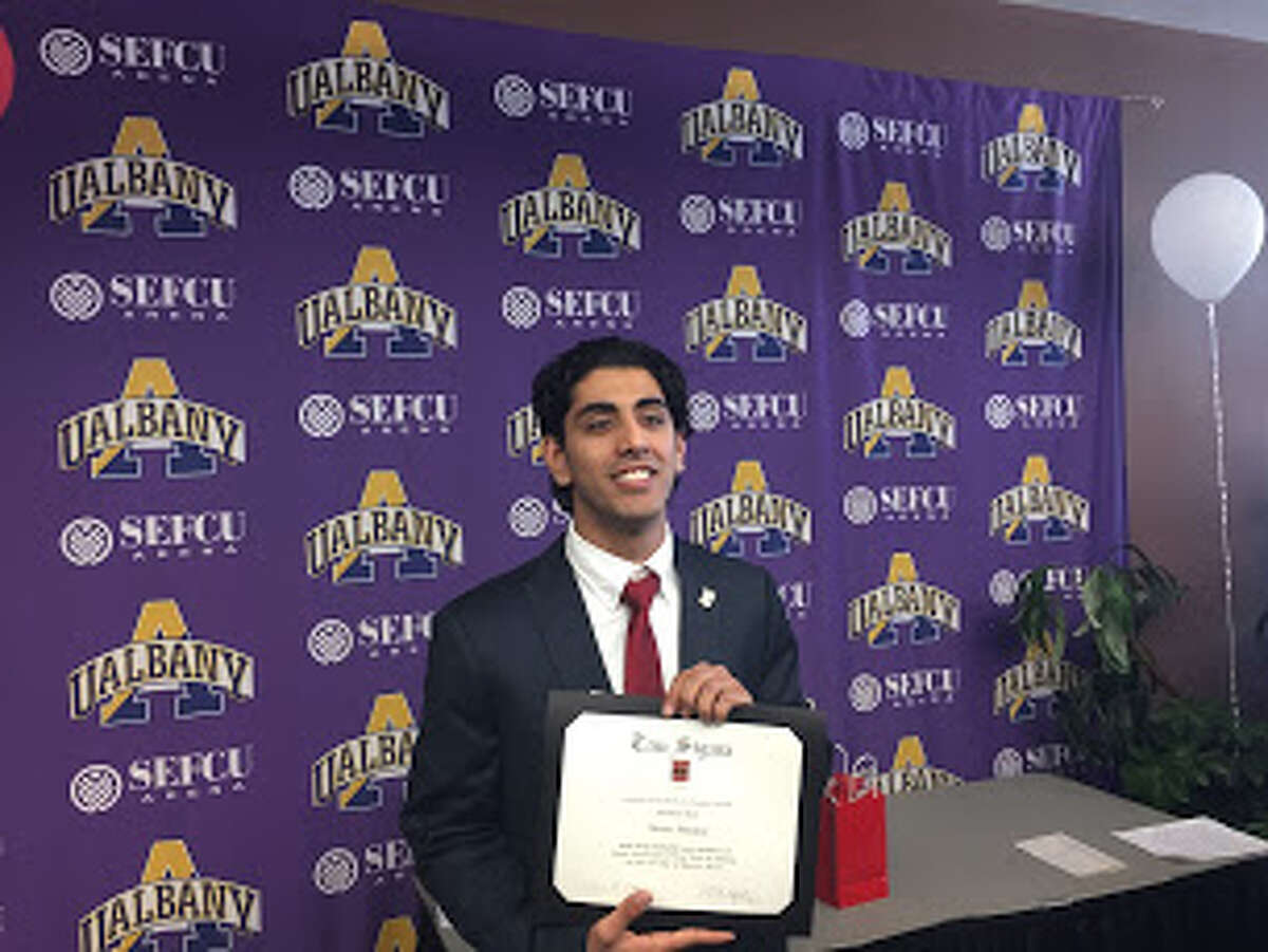 Omar Helalat was inducted into the Tau Sigma National Honor Society at the University at Albany before he was detained by immigration authorities in this undated photo.