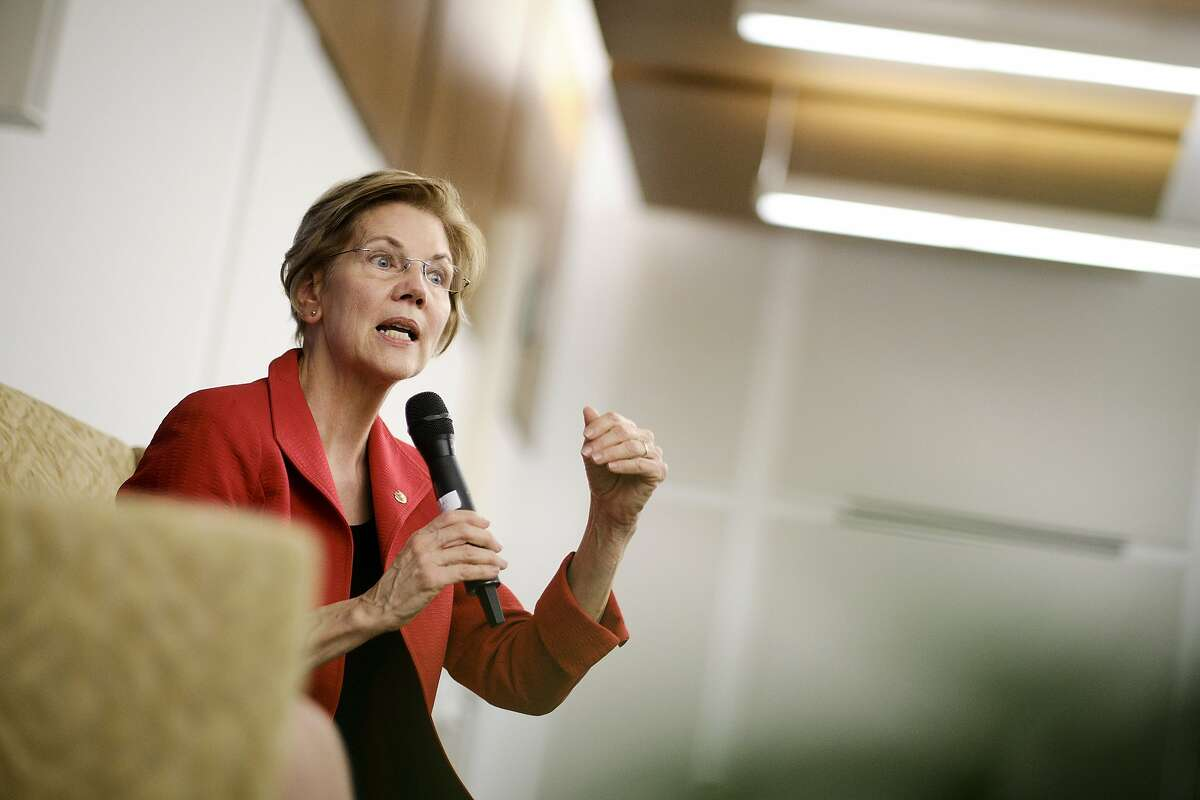 FILE -- Sen. Elizabeth Warren (D-Mass.) speaks at American University in Washington, Nov. 29, 2018. Warren, a sharp critic of big banks and unregulated capitalism, entered the 2020 race for president on Monday, Dec. 31, 2018, becoming the first major candidate in what is likely to be a long and crowded primary marked by ideological and generational divisions in a Democratic Party desperate to beat President Donald Trump. (T.J. Kirkpatrick/The New York Times)