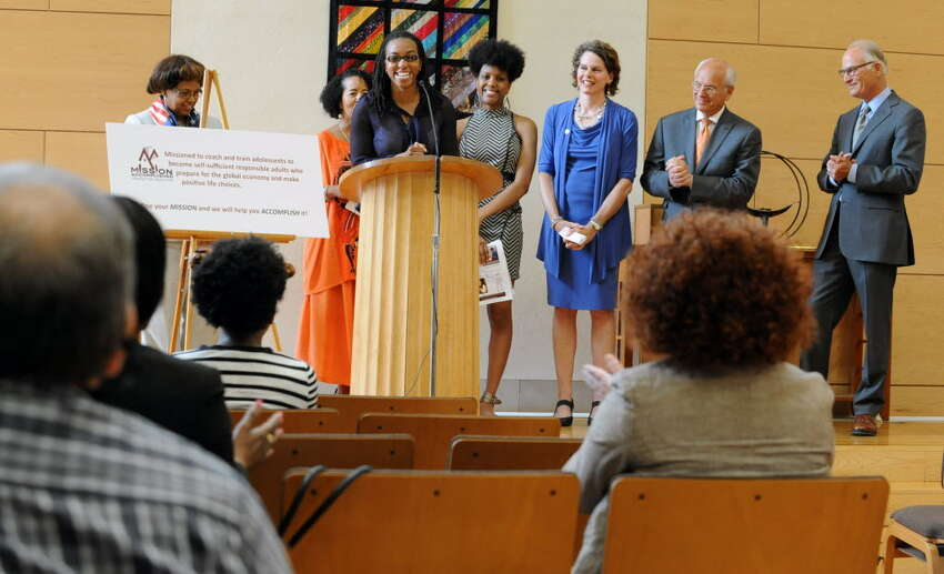 Carmen Duncan speaks at the launch of Mission Accomplished Transition Services, a nonprofit that has helped more than 700 aspiring young professionals in the Capital Region. (Times Union archive)